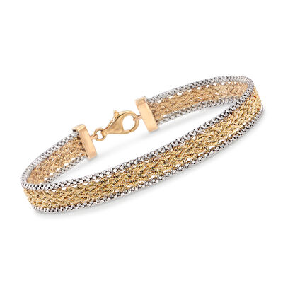 14kt Two-Tone Gold Popcorn and Rope Chain Bracelet, , default
