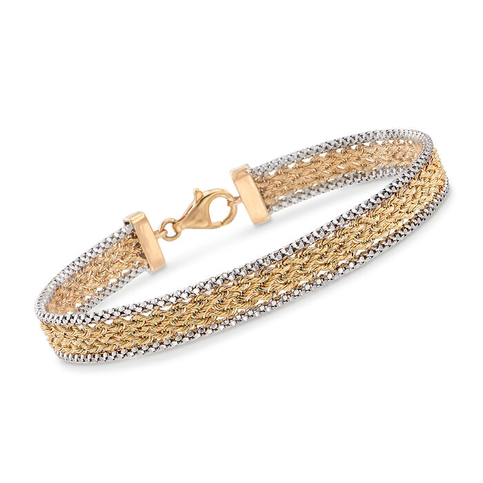 "14kt Two-Tone Gold Popcorn and Rope Chain Bracelet. 7"", , default"