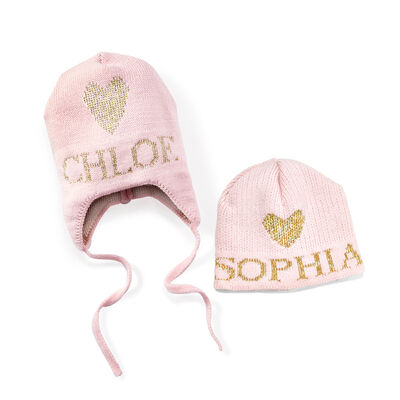 Child's Butterscotch Blankees Personalized Metallic Heart Earflap Hat, , default