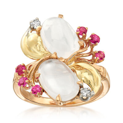 C. 1970 Vintage Moonstone and .30 ct. t.w. Ruby Ring in 14kt Yellow Gold with Diamond Accents