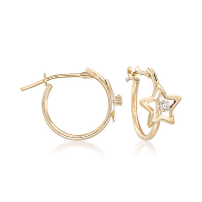 Child's 14kt Yellow Gold Open-Space Star Hoop Earrings with CZ Accents, , default