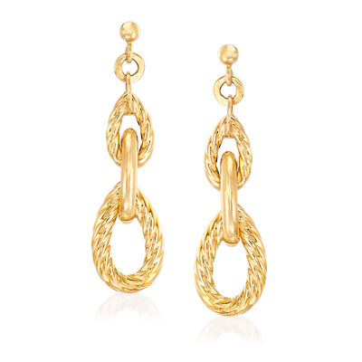 "Phillip Gavriel ""Italian Cable"" Link Drop Earrings in 14kt Yellow Gold"