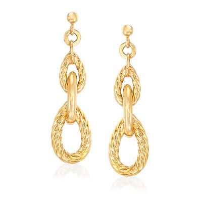 "Phillip Gavriel ""Italian Cable"" Link Drop Earrings in 14kt Yellow Gold, , default"