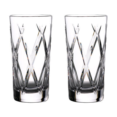 """Waterford Crystal """"Gin Journeys"""" Set of Two Olann Highball Glasses"""