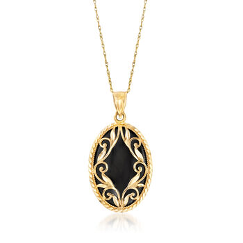 Oval Black Onyx and 14kt Yellow Gold Pendant Necklace, , default