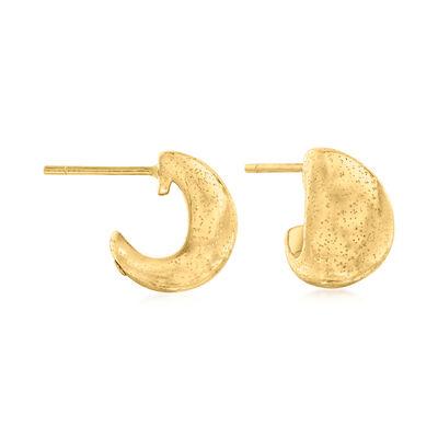 24kt Yellow Gold Huggie J-Hoop Earrings