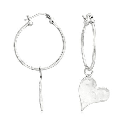 Sterling Silver Removable Heart Charm Drop C-Hoop Earrings