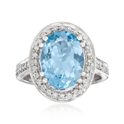 3.80 Carat Aquamarine and .44 ct. t.w. Diamond Ring in 14kt White Gold, , default