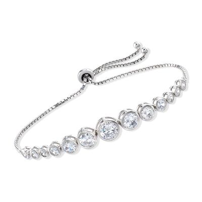 4.85 ct. t.w. Bezel-Set Graduated CZ Bolo Bracelet in Sterling Silver