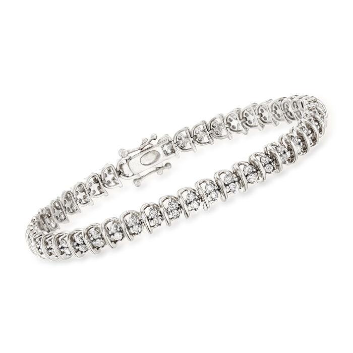 2.00 ct. t.w. Diamond Swirl-Link Tennis Bracelet in Sterling Silver