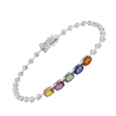 3.00 ct. t.w. Multicolored Sapphire and .40 ct. t.w. Diamond Bracelet in 18kt White Gold