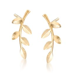 18kt Yellow Gold Branch Earrings , , default
