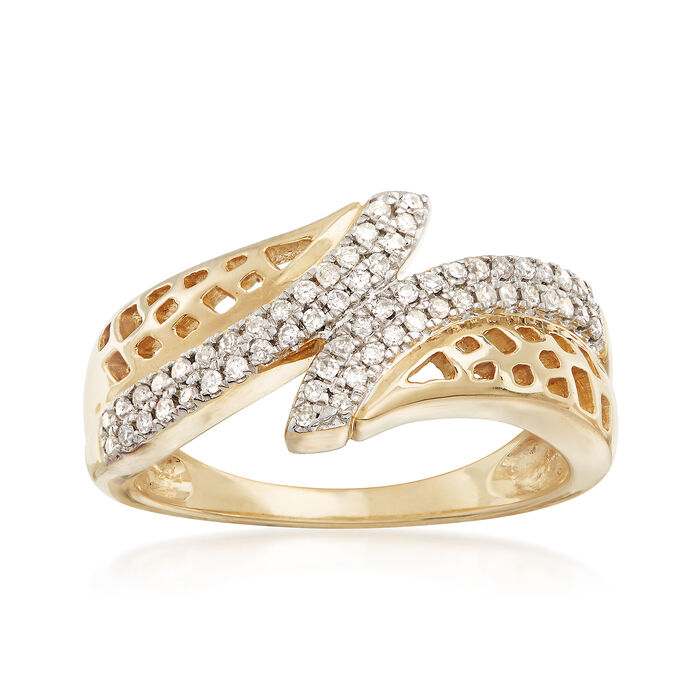 .25 ct. t.w. Diamond Openwork Bypass Ring in 14kt Yellow Gold, , default