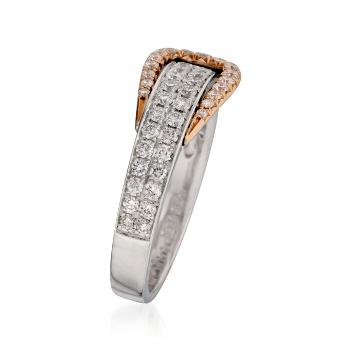 C. 2016 Simon G. .60 ct. t.w. Diamond Buckle Ring in 18kt Two-Tone Gold