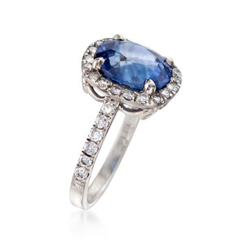 C. 2000 Vintage 4.19 Carat Sapphire and .75 ct. t.w. Diamond Ring in Platinum. Size 4.5