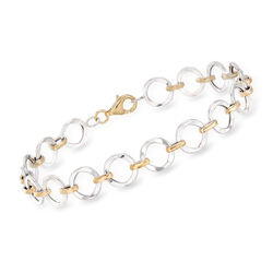 14kt Two-Tone Gold Circle Link Bracelet, , default