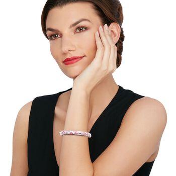 "Belle Etoile ""Constellations: Sakura"" Pink Enamel and .54 ct. t.w. CZ Bangle Bracelet in Sterling Silver. 7"", , default"
