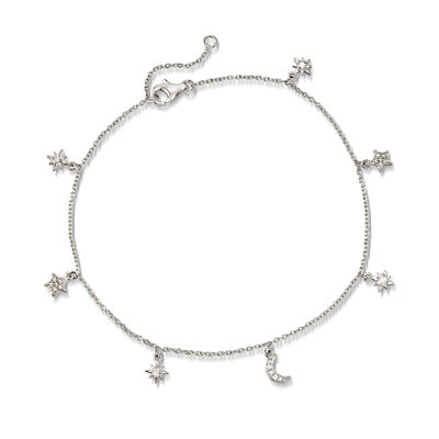 .23 ct. t.w. Sun and Moon Charm Anklet in Sterling Silver
