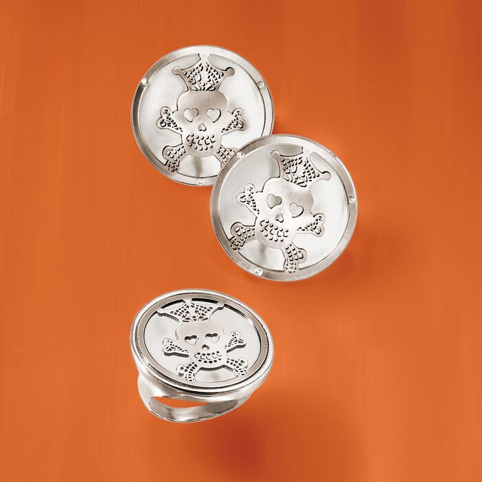Italian Sterling Silver Skull and Crossbones Disc Earrings