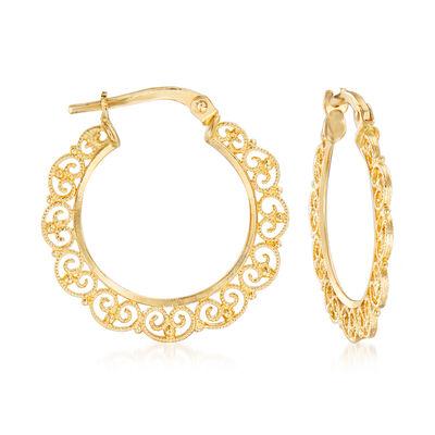 Italian 14kt Yellow Gold Filigree Hoop Earrings