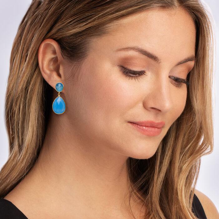 Blue Chalcedony Drop Earrings in 18kt Gold Over Sterling