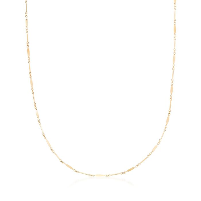 Italian 18kt Yellow Gold Bar and Marquise Link Necklace, , default