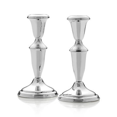 Empire Set of 2 Sterling Silver Candlestick Holders