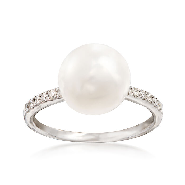 10-10.5mm Cultured Pearl and .14 ct. t.w. Diamond Ring in 14kt White Gold, , default