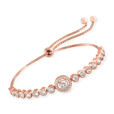 2.10 ct. t.w. CZ Bolo Bracelet in 18kt Rose Gold Over Sterling, , default