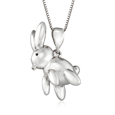 Sterling Silver Balloon Rabbit Pendant Necklace, , default