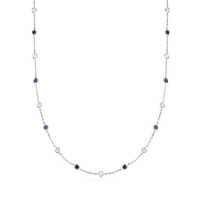 3.00 ct. t.w. Simulated Sapphire and 2.50 ct. t.w. CZ Station Necklace in Sterling Silver