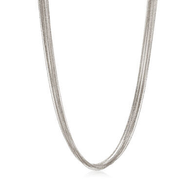 Italian Sterling Silver Bead Chain Necklace, , default