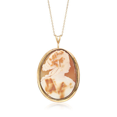 C. 1960 Vintage Shell Cameo Pin Pendant in 14kt Yellow Gold, , default