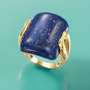 Rectangular Lapis Ring in 14kt Yellow Gold, , default