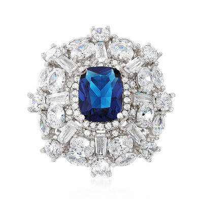 2.40 Carat Simulated Sapphire and 2.85 ct. t.w. Multi-Shaped CZ Ring in Sterling Silver, , default