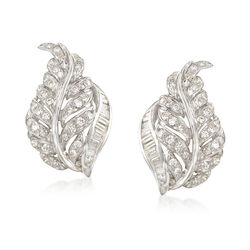 C. 1970 Vintage 1.80 ct. t.w. Round and Baguette Diamond Leaf Earrings in 18kt White Gold , , default