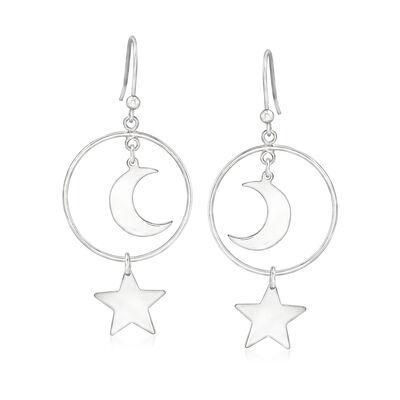 Italian Sterling Silver Moon and Star Drop Earrings