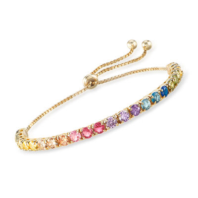 5.52 ct. t.w. Multicolored CZ Bolo Bracelet in 18kt Gold Over Sterling