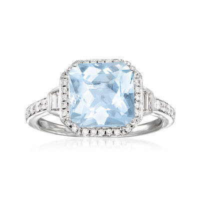 C. 1990 Vintage 2.15 Carat Aquamarine and .45 ct. t.w. Diamond Ring in 14kt White Gold