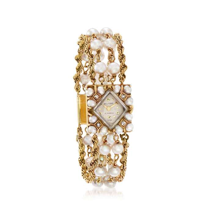C. 1950 Vintage Belltone Cultured Pearl and .10 ct. t.w. Diamond Women's 14kt Yellow Gold Watch. Size 7, , default