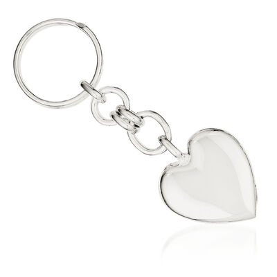 Sterling Silver Engravable Heart Key Ring, , default