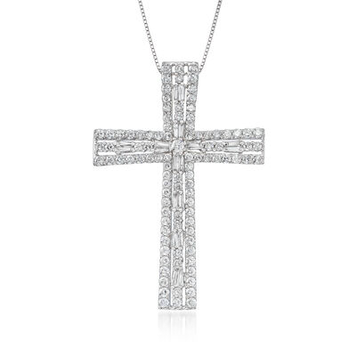 3.00 ct. t.w. Diamond Cross Pendant Necklace in 14kt White Gold, , default