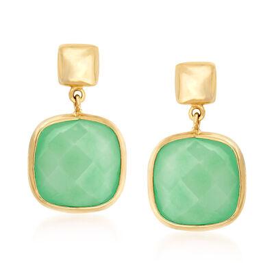 Italian Aventurine Drop Earrings in 14kt Yellow Gold, , default