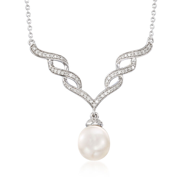 """9-9.5mm Cultured Pearl and .24 ct. t.w. Diamond Necklace in Sterling Silver. 17"""""""