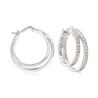 1.00 ct. t.w. Diamond Double Hoop Earrings in 14kt White Gold, , default