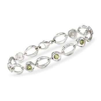 "Zina Sterling Silver ""Contemporary"" 1.85 ct. t.w. Peridot Loop Bracelet. 7"", , default"