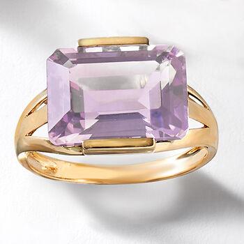 7.25 Carat Amethyst Ring in 14kt Yellow Gold