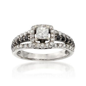 C. 1990 Vintage 1.00 ct. t.w. Black and White Diamond Ring in 14kt White Gold. Size 5.5, , default