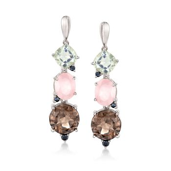 8.75 ct. t.w. Multi-Stone Drop Earrings With Rose Quartz and Black Spinel in Sterling Silver, , default