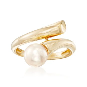 7.5-8mm Cultured Pearl Bypass Ring in 14kt Yellow Gold. Size 5, , default